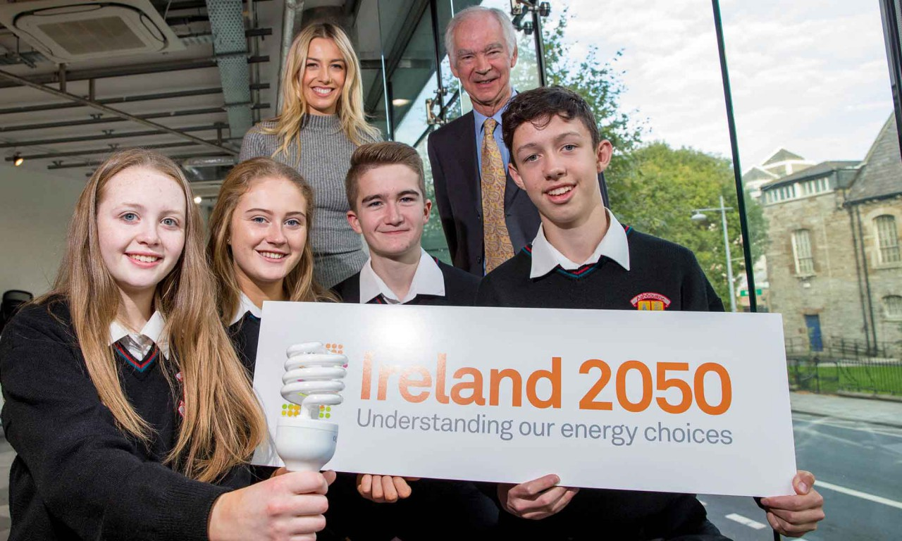 RTÉ'S Bláthnaid Treacy, The Energy Institute's David Taylor alongside students- Emmett, Eoghan, Megan and Roisin from Ashbourne Community School.