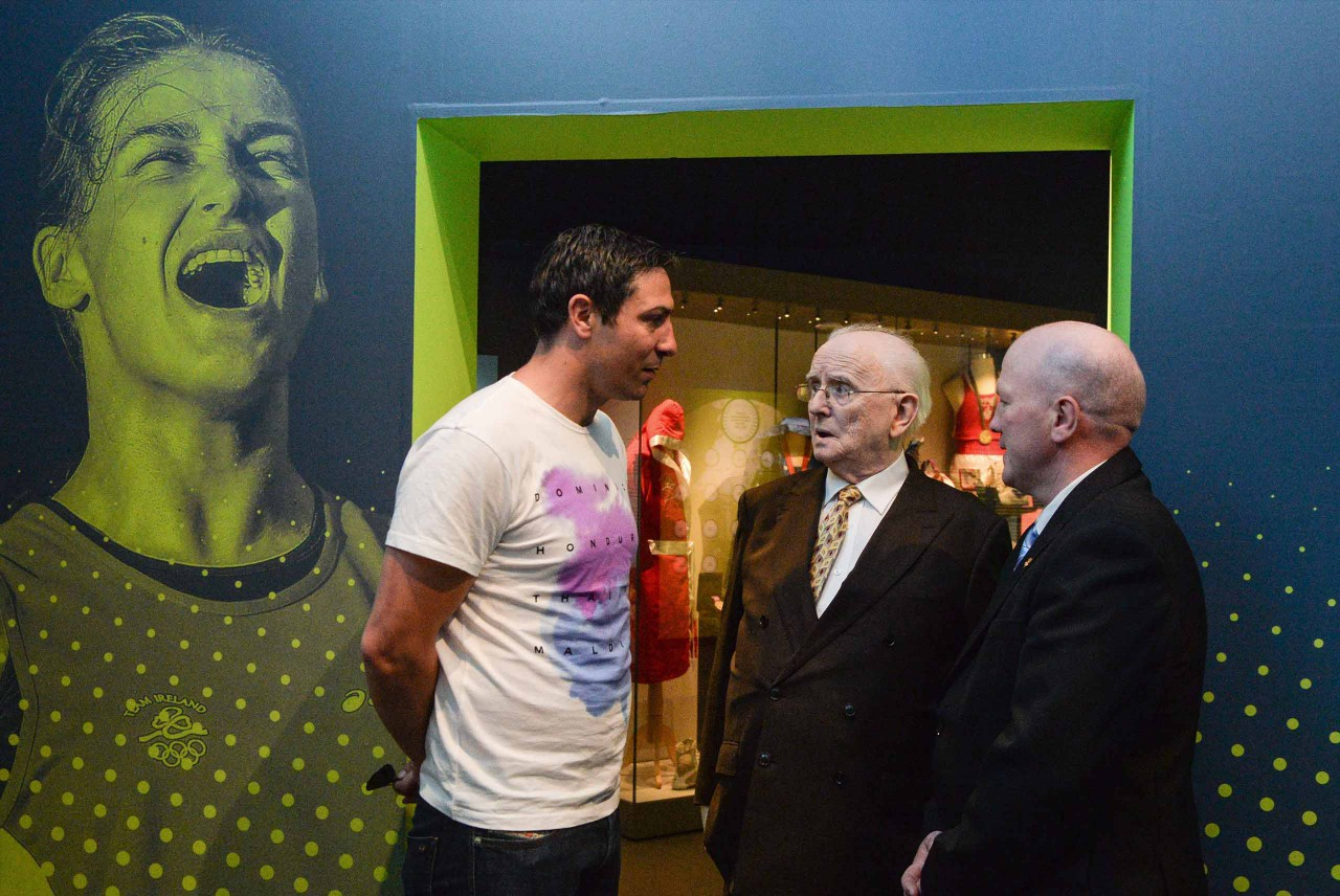 Olympic silver medalist, Kenneth Egan, the late broadcaster, Jimmy McGee and Olympic gold medalist Michael Carruth at the launch of the Irelands Olympians exhibition at the GAA Museum.