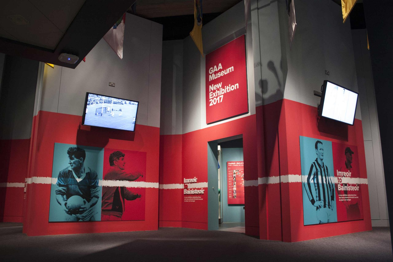 Image of the exterior of the Imreoir To Bainisteoir Exhibition in the GAA Museum.