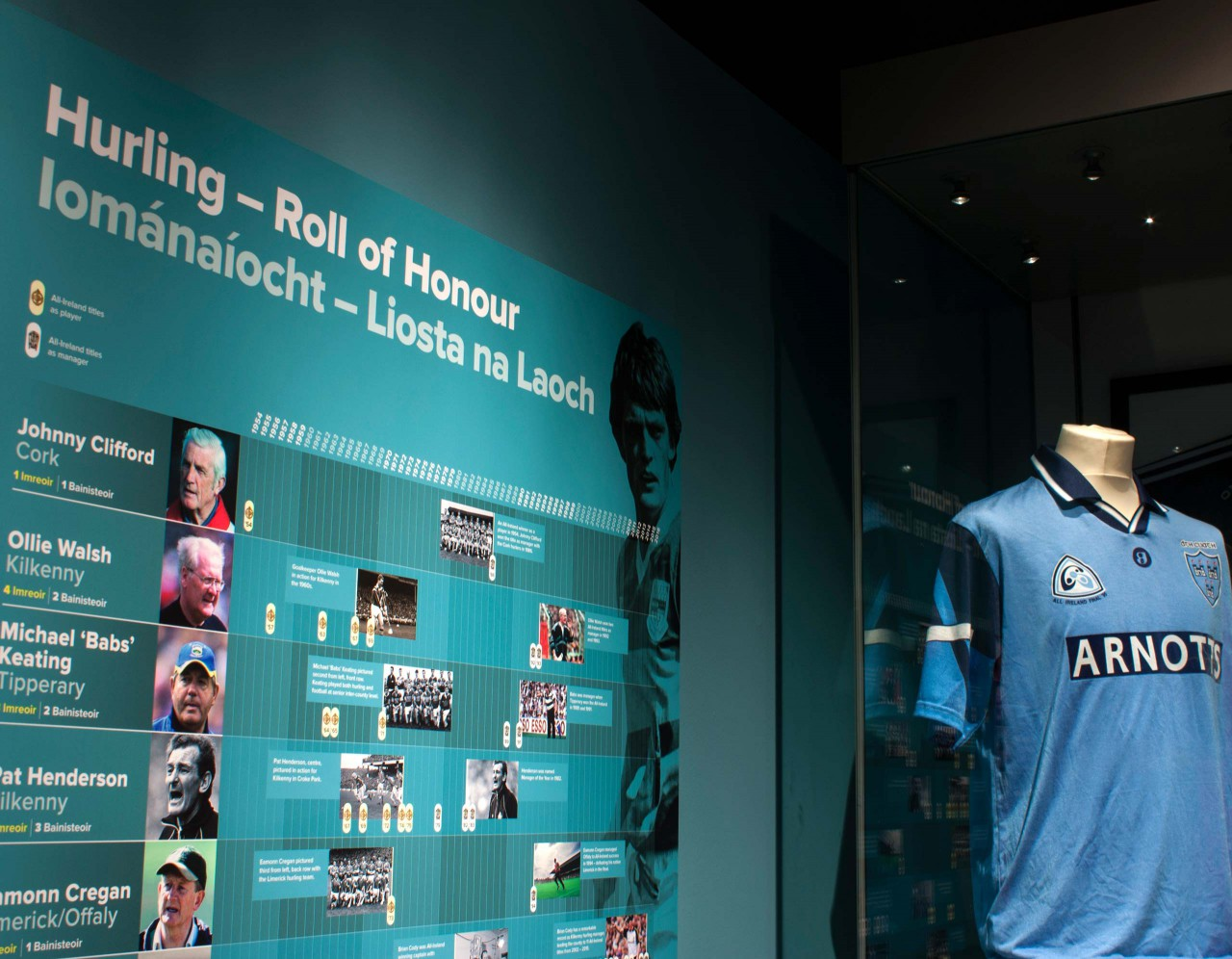 Image of the Hurling roll of honour panel for the Imreoir To Bainisteoir Exhibition in the GAA Museum