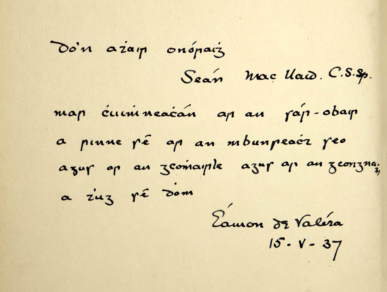 Note from an Taoiseach Eamonn DeValera to Archbishop John Charles McQuaid thanking him for all the 'reamh obair' he did on the constitution.