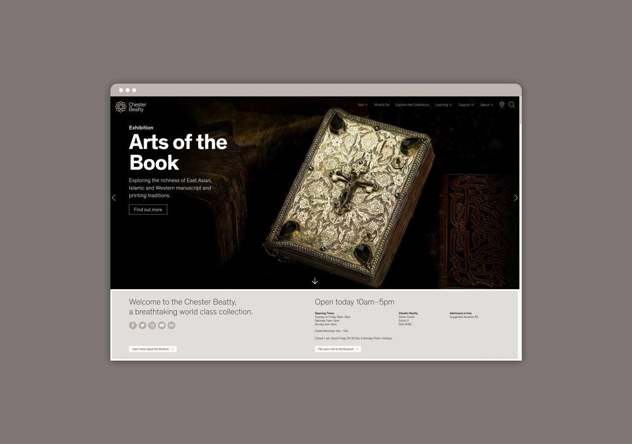 Desktop version of the Chester Beatty website.
