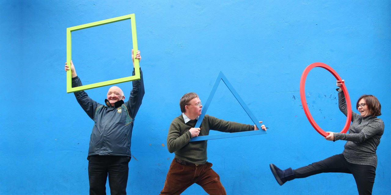 Equinox Theatre Company actors Jim Rohan, Shane Byrne and Belinda Henzey at Project Arts Centre to launch Arts & Disability Ireland's strategy Leading Change in Arts and Culture 2017-2021. Photo: Leon Farrell/ Photocall Ireland