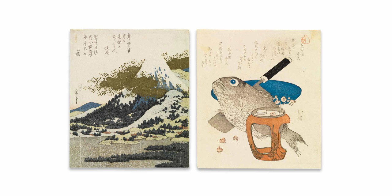 Left: Mt Fuji from Lake Ashi in Hakone. Katsushika Hokusai. Japan, late 1820's. Chester Beatty. Right: Cherry bream, cleaver, plate and cup stand. Totoya Hokkei. Japan, c. 1827. Chester Beatty.
