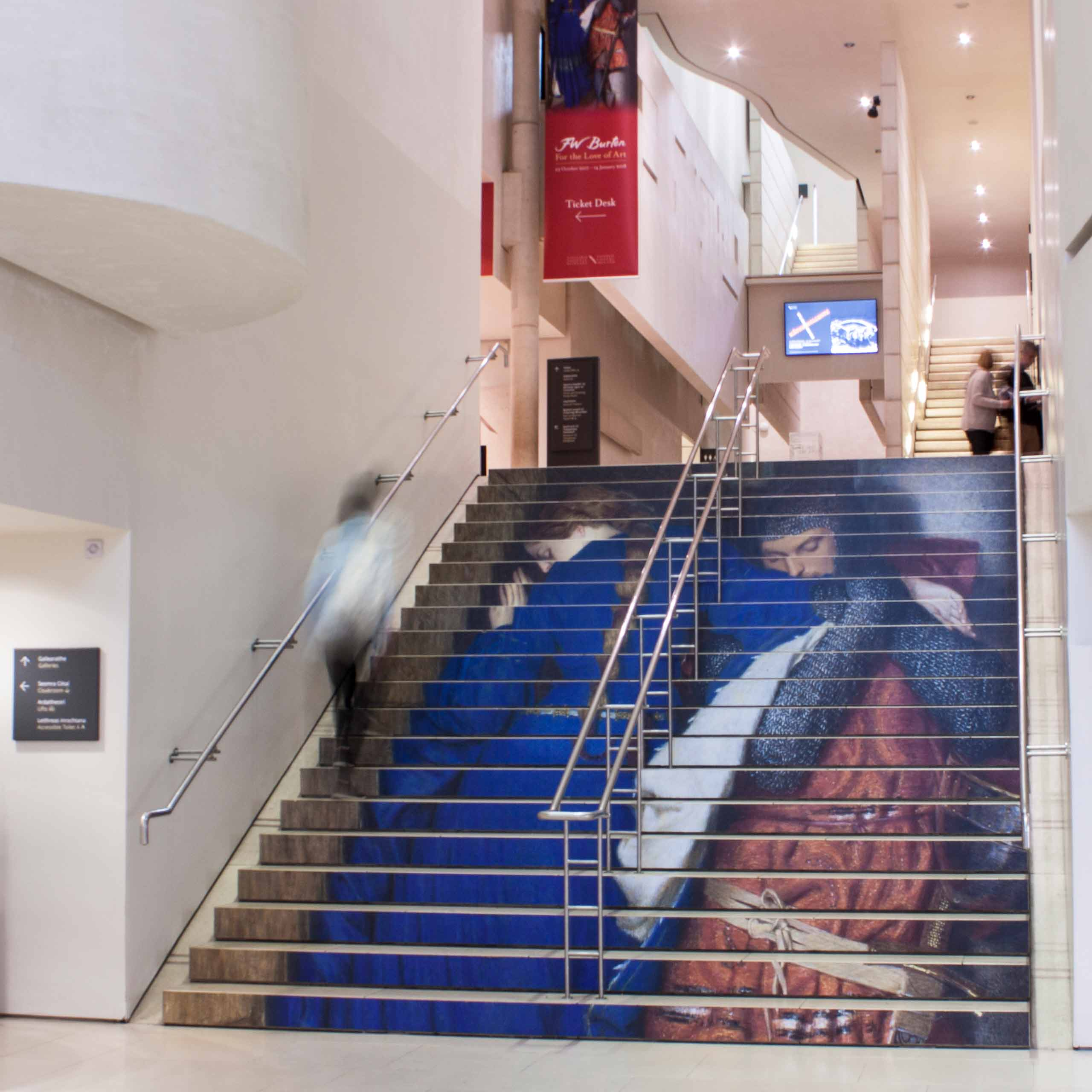 Image of Frederic William Burton: For the Love of Art exhibition stairs graphic.