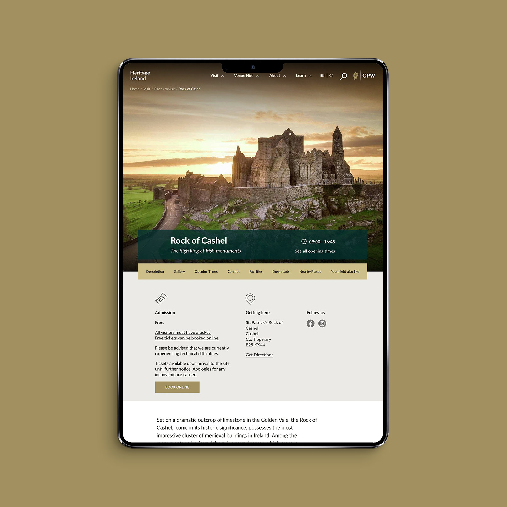 Image of the Rock of Cashel page on the Heritage Ireland website