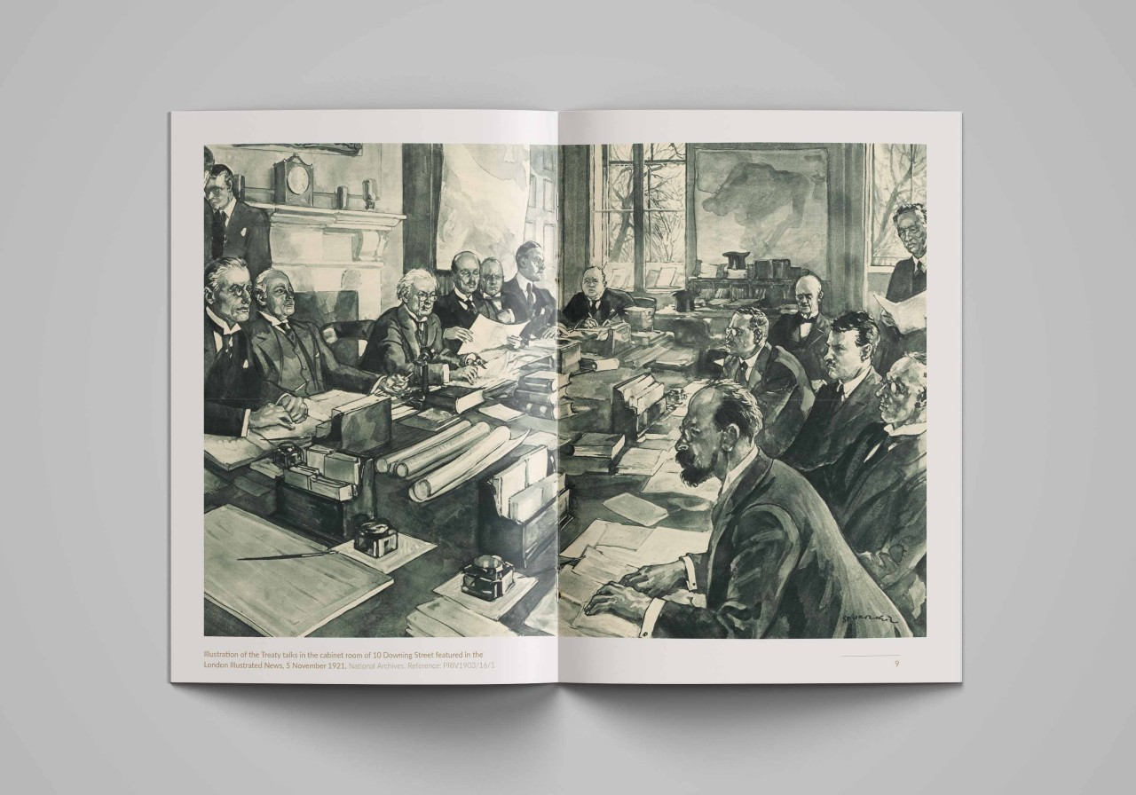 Illustration of the Treaty talks in the cabinet room of 10 Downing Street featured in the London Illustrated News, 5 November 1921. National Archives. Reference: PRIV1903/16/1