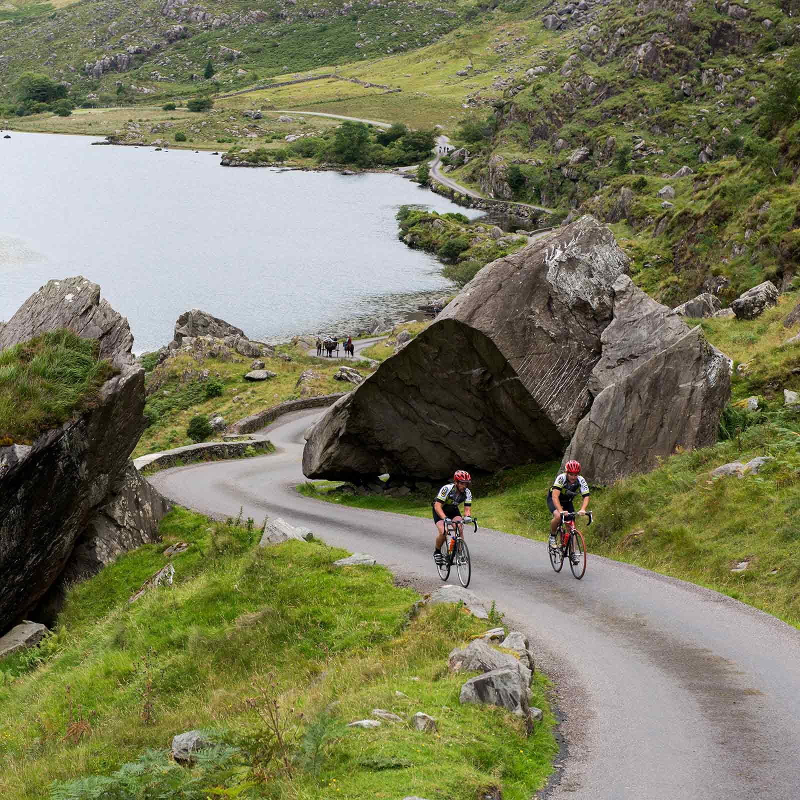 Cyclists on the Ring of Kerry at Molls gap